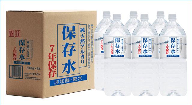 純天然アルカリ保存水と箱