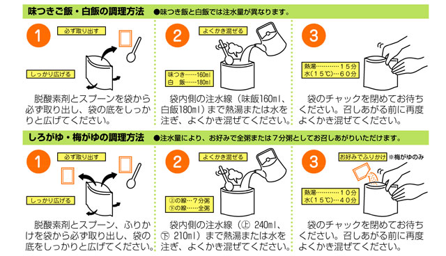 アルファ化米調理方法