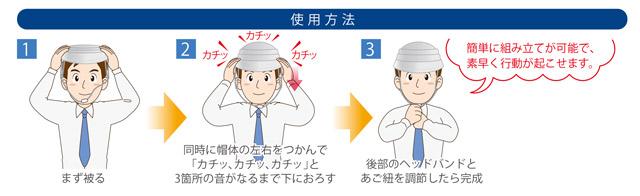 防災用ヘルメット オサメット 使用方法